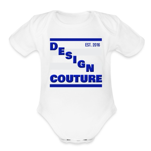 DESIGN COUTURE EST 2016 BLUE - Organic Short Sleeve Baby Bodysuit