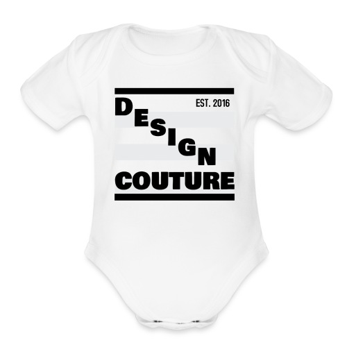 DESIGN COUTURE EST 2016 BLACK - Organic Short Sleeve Baby Bodysuit