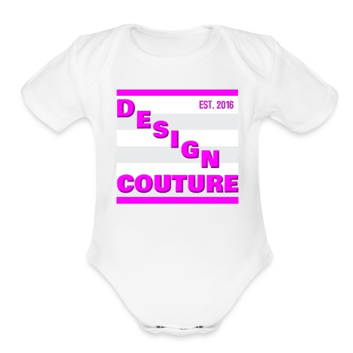 DESIGN COUTURE EST 2016 PINK - Organic Short Sleeve Baby Bodysuit