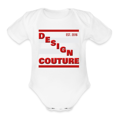 DESIGN COUTURE EST 2016 RED - Organic Short Sleeve Baby Bodysuit