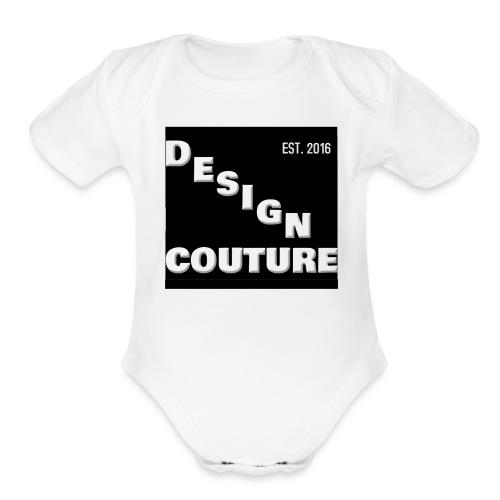 DESIGN COUTURE EST 2016 WHITE - Organic Short Sleeve Baby Bodysuit