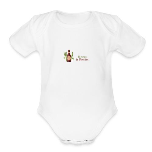 Beers & Burritos Logo - Organic Short Sleeve Baby Bodysuit