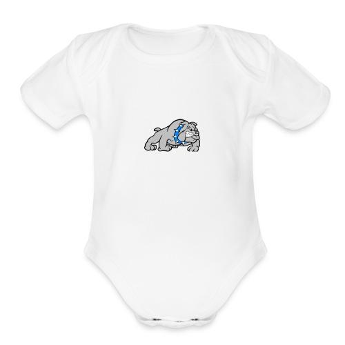 bull dog - Organic Short Sleeve Baby Bodysuit