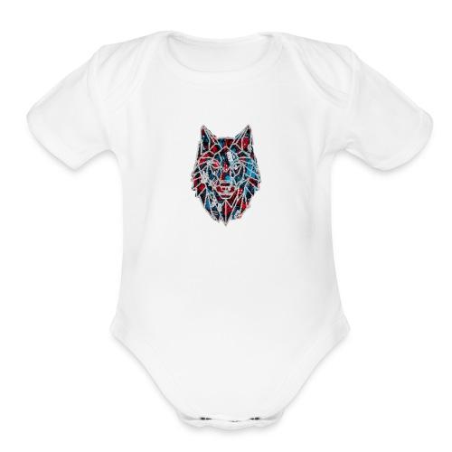 Red blue wolf merch - Organic Short Sleeve Baby Bodysuit