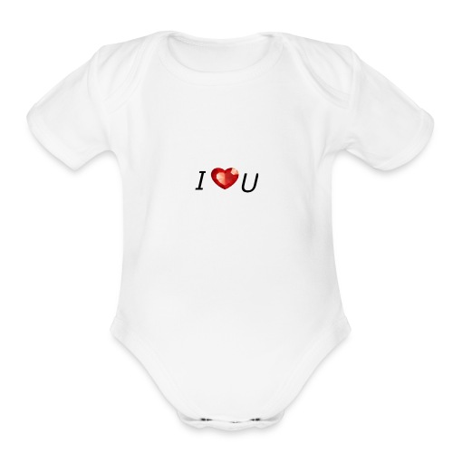 I love you - Organic Short Sleeve Baby Bodysuit