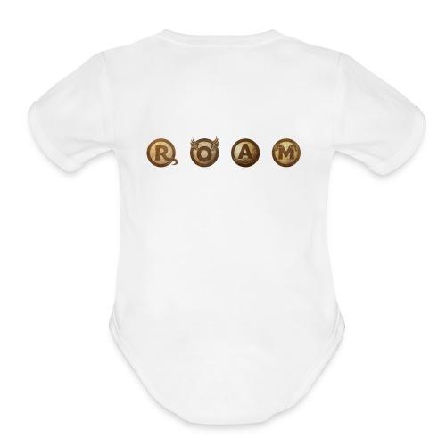ROAM letters sepia - Organic Short Sleeve Baby Bodysuit