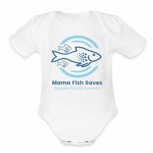 Mama Fish Saves Logo Print - Organic Short Sleeve Baby Bodysuit