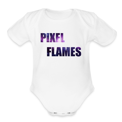 PIXEL FLAMES (Galaxy Edition) - Organic Short Sleeve Baby Bodysuit