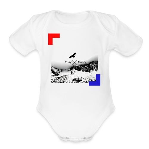 Yung Muney Official Artwork Logo - Organic Short Sleeve Baby Bodysuit