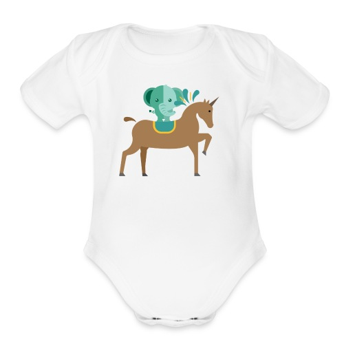 Unicorn and elephant - Organic Short Sleeve Baby Bodysuit