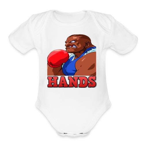 Balrog hands - Organic Short Sleeve Baby Bodysuit