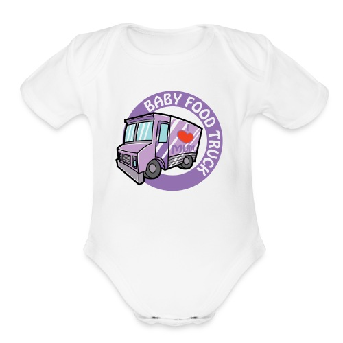 Purple baby food truck - Organic Short Sleeve Baby Bodysuit