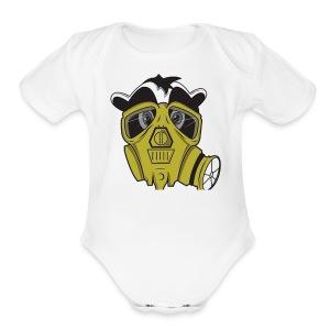 gasmask panda - Short Sleeve Baby Bodysuit