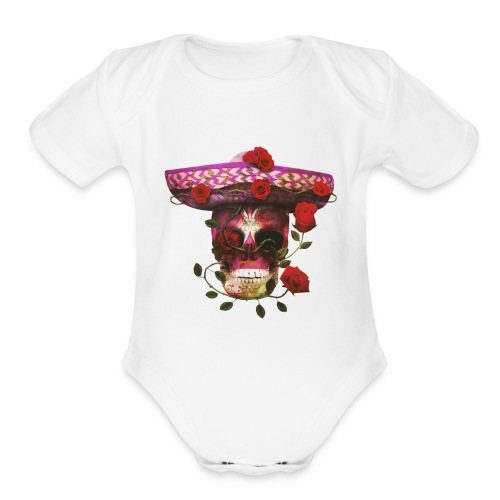 Mexican Skull with roses - Organic Short Sleeve Baby Bodysuit