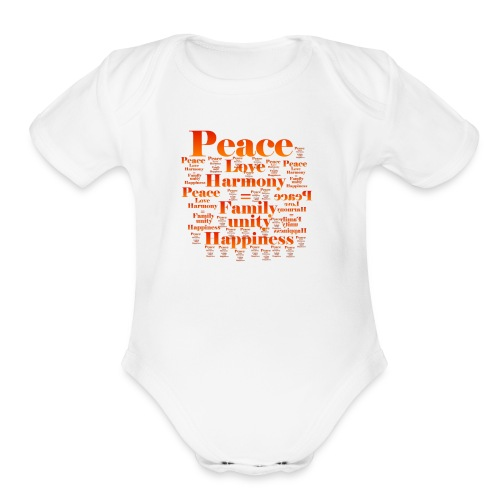 PEACE LOVE HARMONY - Organic Short Sleeve Baby Bodysuit