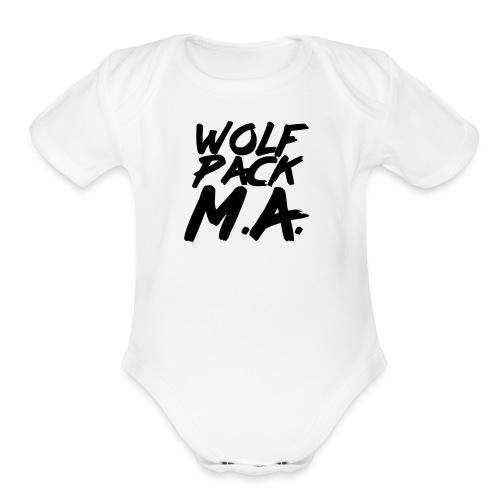 WolfPack M.A. Text Logo - Organic Short Sleeve Baby Bodysuit