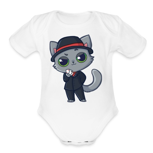 Casino Cat - Organic Short Sleeve Baby Bodysuit