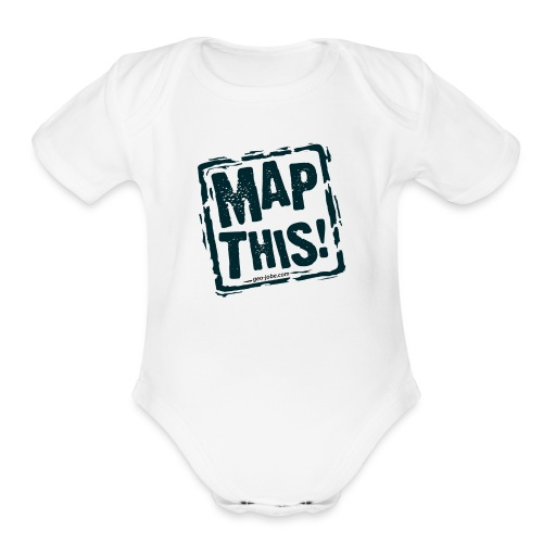 MapThis! Black Stamp Logo - Organic Short Sleeve Baby Bodysuit