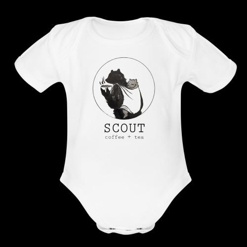 papa large logo - Organic Short Sleeve Baby Bodysuit