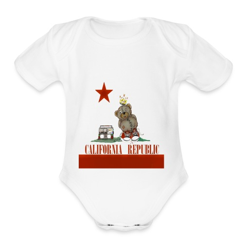 Lucky Number7 California Teddy NO Gunja Leaf - Organic Short Sleeve Baby Bodysuit