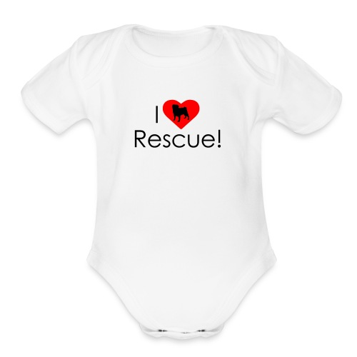 I Heart Rescue Pug - Organic Short Sleeve Baby Bodysuit