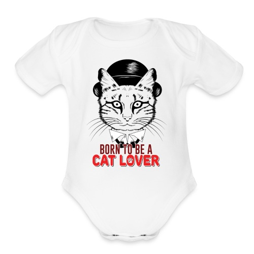 Born to be a cat lover - Organic Short Sleeve Baby Bodysuit