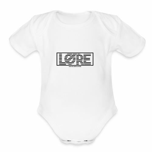 ''Lore'' Logo Black Stripes - Organic Short Sleeve Baby Bodysuit