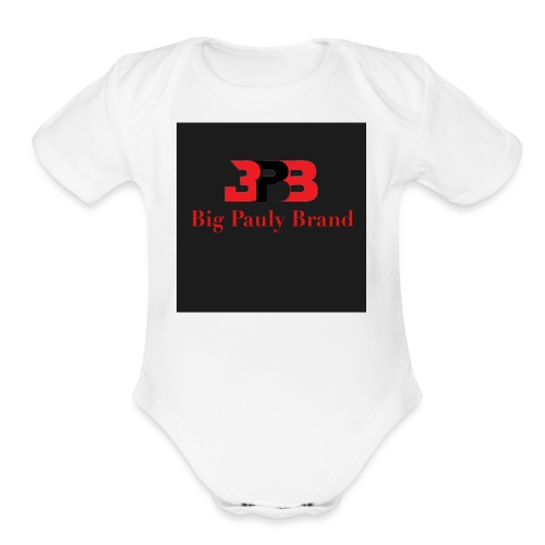 Big Pauly Brand Red Print With Logo - Organic Short Sleeve Baby Bodysuit