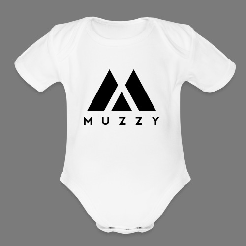 MUZZY Offical Logo Black - Organic Short Sleeve Baby Bodysuit