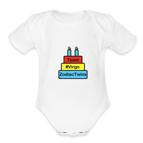ZodiacTwins Virgo logo - Organic Short Sleeve Baby Bodysuit