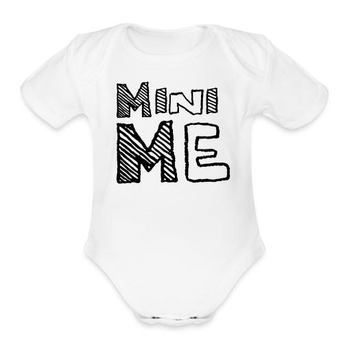 Baby Mini Me T Shirt Black on White - Organic Short Sleeve Baby Bodysuit