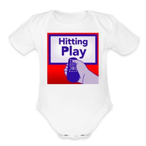 Hitting Play Logo - Organic Short Sleeve Baby Bodysuit