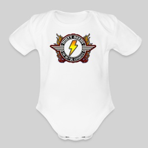 Dirty Deeds Flame Emblem - Short Sleeve Baby Bodysuit