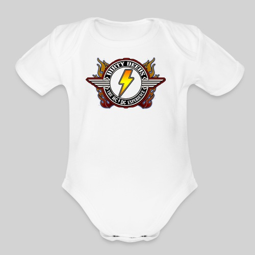 Dirty Deeds Flame Emblem - Organic Short Sleeve Baby Bodysuit
