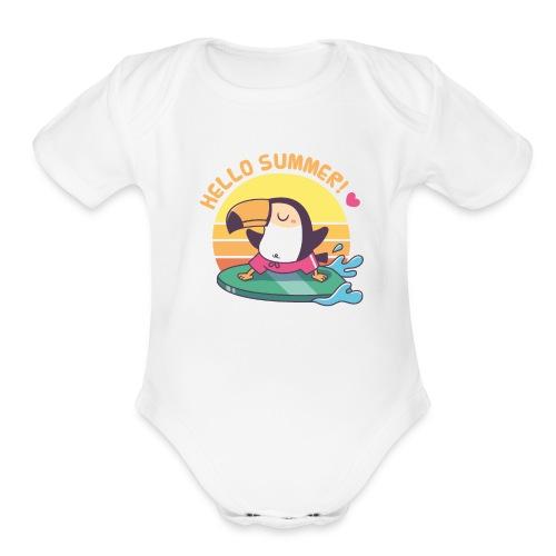 Cute Toucan on Surfboard, Hello Summer - Organic Short Sleeve Baby Bodysuit