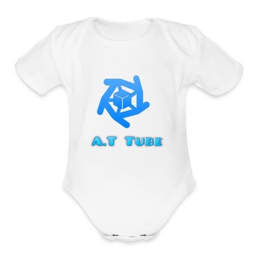 A.T Tube (White) - Organic Short Sleeve Baby Bodysuit
