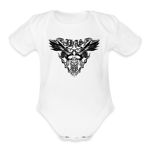 Vintage JHAS Tribal Skull Wings Illustration - Organic Short Sleeve Baby Bodysuit