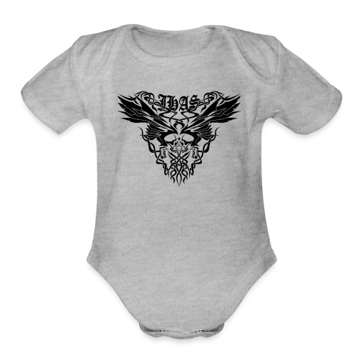 Vintage JHAS Tribal Skull Wings Illustration - Organic Short Sleeve Baby Bodysuit