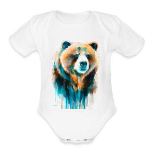 grizzly bear - Short Sleeve Baby Bodysuit