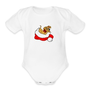 dog_xmas_color - Short Sleeve Baby Bodysuit