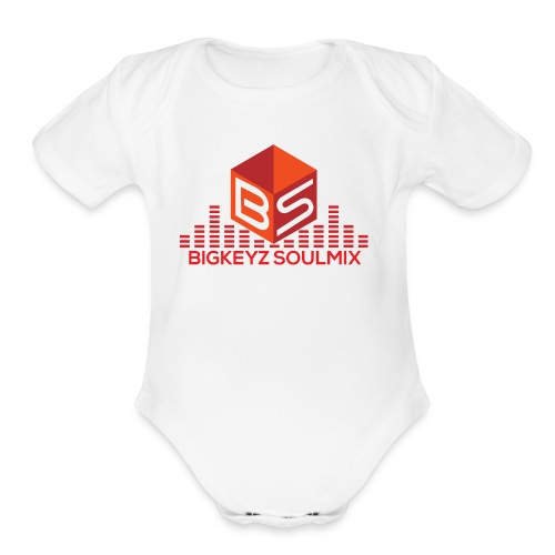 RETRO RED with whitee shirt - Organic Short Sleeve Baby Bodysuit