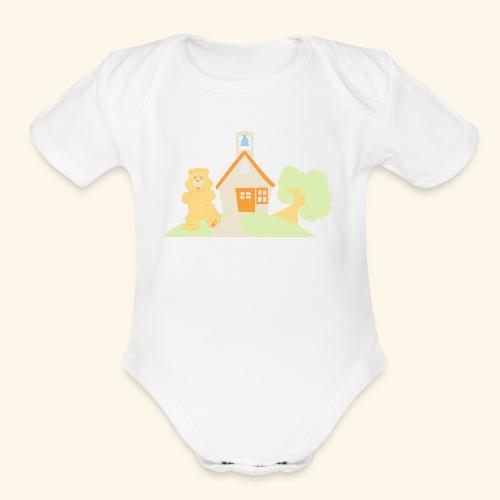 bear house - Organic Short Sleeve Baby Bodysuit