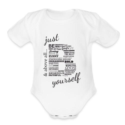 Just B Yourself_blk.txt - Organic Short Sleeve Baby Bodysuit