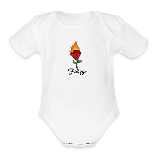 Fuaygo flaming rose logo - Organic Short Sleeve Baby Bodysuit