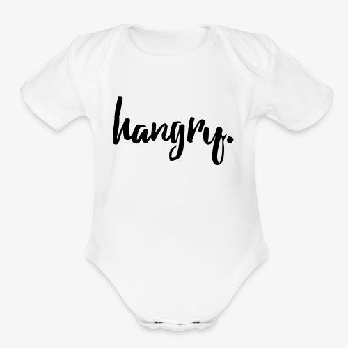 Hangry - Black - Organic Short Sleeve Baby Bodysuit