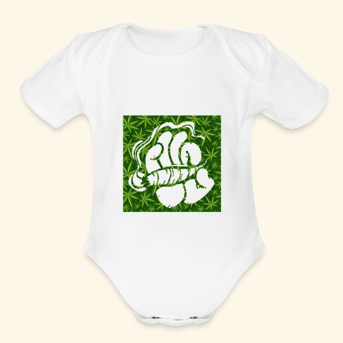 Hand with a joint - smoking weed 420 lifestyle - Organic Short Sleeve Baby Bodysuit