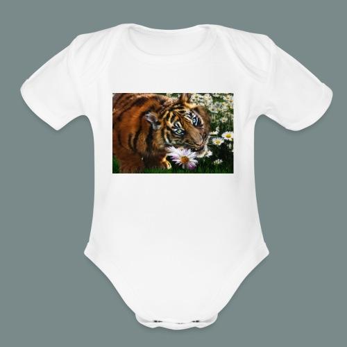 Tiger flo - Organic Short Sleeve Baby Bodysuit
