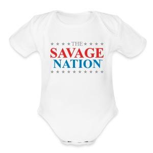 The Savage Nation Logo sch - Short Sleeve Baby Bodysuit