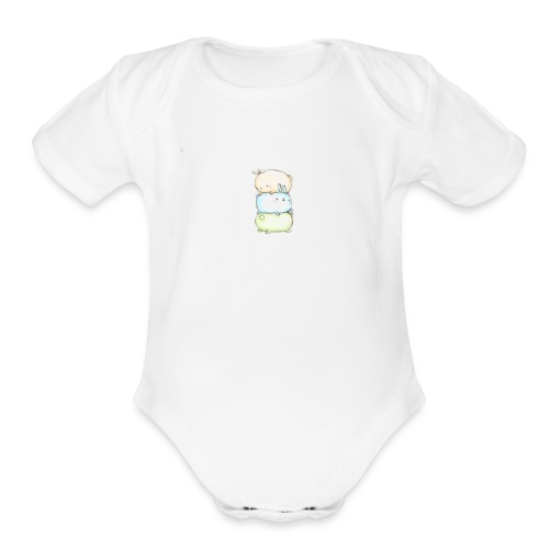 three little bunnies - Organic Short Sleeve Baby Bodysuit