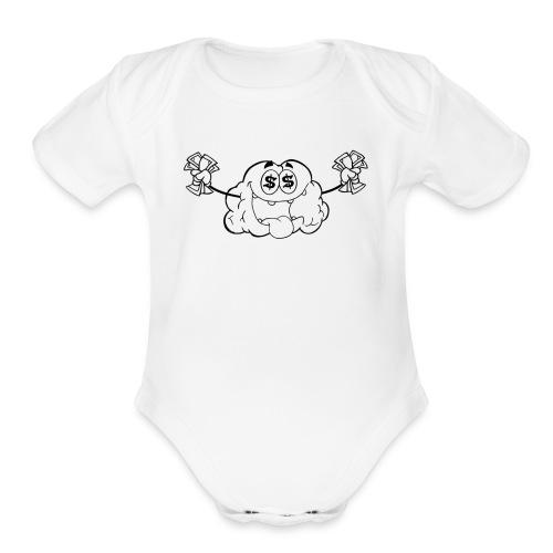 CloutStars Money Brain - Organic Short Sleeve Baby Bodysuit